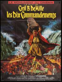5j865 TEN COMMANDMENTS French 1p R1970s Cecil B. DeMille classic, art of Charlton Heston w/tablets!