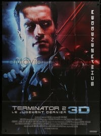 5j868 TERMINATOR 2 French 1p R2017 great super close image of cyborg Arnold Schwarzenegger!