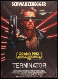 5j867 TERMINATOR CinePoster REPRO French 1p 1985 classic cyborg Arnold Schwarzenegger with gun!