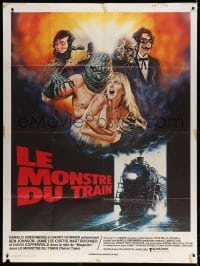 5j869 TERROR TRAIN French 1p 1981 great different art with monsters attacking sexy sorority girl!