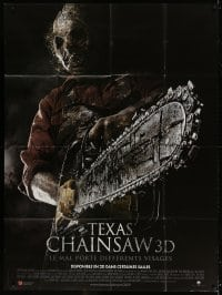 5j871 TEXAS CHAINSAW 3D French 1p 2013 super close up of Dan Yeagar as Leatherface with saw!