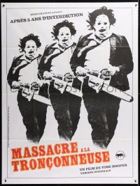 5j872 TEXAS CHAINSAW MASSACRE French 1p R1980s Tobe Hooper classic, different Leatherface image!