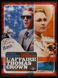5j881 THOMAS CROWN AFFAIR French 1p R2000s different image of Steve McQueen & sexy Faye Dunaway!