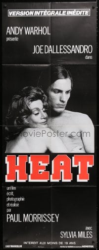 5j021 ANDY WARHOL'S HEAT French door panel R1980s Andy Warhol, naked Joe Dallesandro & Sylvia Miles!
