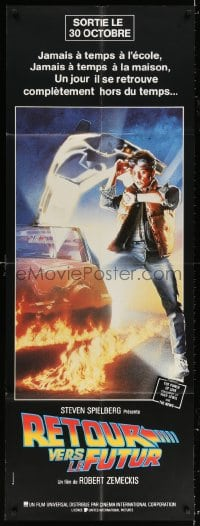 5j023 BACK TO THE FUTURE French door panel 1985 art of Michael J. Fox & Delorean by Drew Struzan!