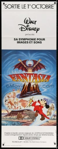 5j025 FANTASIA French door panel R1980s Disney cartoon classic, completely different montage art!