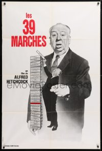 5j010 39 STEPS French 32x47 R1970s great huge image of Alfred Hitchcock stacking his own movies!
