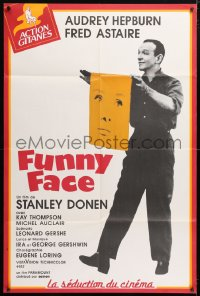 5j013 FUNNY FACE French 32x47 R1990s different image of Fred Astaire holding Audrey Hepburn's face!