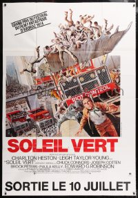 5j004 SOYLENT GREEN advance DS French 47x68 R1980s Solie art of Heston escaping riot control!