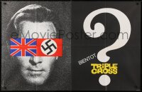 5j019 TRIPLE CROSS French 30x46 1967 Christopher Plummer with British & Nazi flags, different!