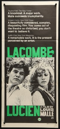 5k680 LACOMBE LUCIEN Aust daybill 1974 directed by Louis Malle, French WWII Resistance, cool art!
