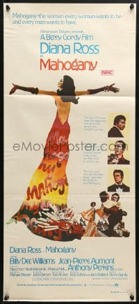 5k724 MAHOGANY Aust daybill 1975 art of Diana Ross, Billy Dee Williams, Anthony Perkins & Aumont!