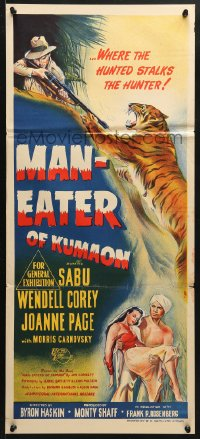 5k731 MAN-EATER OF KUMAON Aust daybill 1948 Sabu, Wendell Corey, Joanne Page, cool art of tiger!