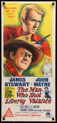 5k728 MAN WHO SHOT LIBERTY VALANCE Aust daybill 1962 John Wayne & James Stewart, John Ford