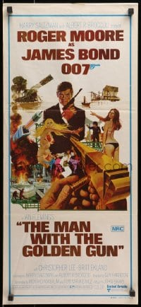 5k730 MAN WITH THE GOLDEN GUN Aust daybill 1974 art of Roger Moore as James Bond by McGinnis!