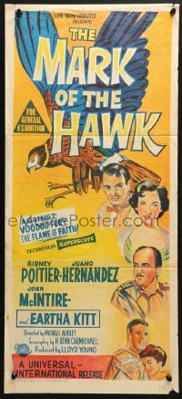 5k732 MARK OF THE HAWK Aust daybill 1958 Sidney Poitier & Eartha Kitt against voodoo fury in Africa!