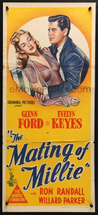 5k737 MATING OF MILLIE Aust daybill 1947 great romantic art of Glenn Ford & Evelyn Keyes!