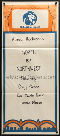5k744 MGM Aust daybill 1960s cool stock poster advertising a showing of North by Northwest!