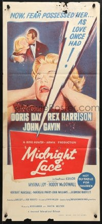 5k747 MIDNIGHT LACE Aust daybill 1960 Rex Harrison, fear possessed Doris Day as love once had!