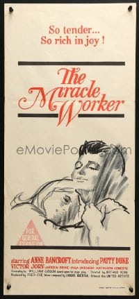 5k749 MIRACLE WORKER Aust daybill 1962 Anne Bancroft as Annie Sullivan & Patty Duke as Helen Keller!