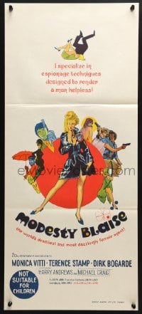 5k752 MODESTY BLAISE Aust daybill 1966 Bob Peak art of sexiest female secret agent Monica Vitti!