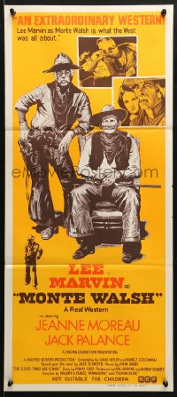 5k753 MONTE WALSH Aust daybill 1970 art of Lee Marvin, Jack Palance & Jeanne Moreau!