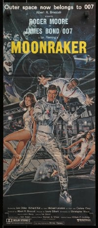 5k756 MOONRAKER Aust daybill 1979 Roger Moore as James Bond by Goozee, no border design!