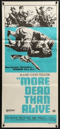 5k758 MORE DEAD THAN ALIVE Aust daybill 1974 Clint Walker, Vincent Price & Anne Francis!