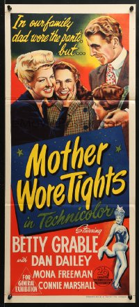 5k760 MOTHER WORE TIGHTS Aust daybill 1948 different art of Betty Grable, Dan Dailey, Mona Freeman!