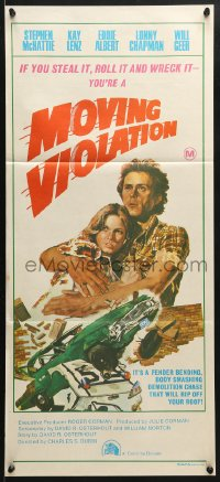 5k762 MOVING VIOLATION Aust daybill 1976 Stephen McHattie, Kay Lenz, wacky crash art!