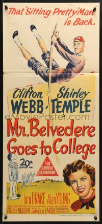 5k763 MR. BELVEDERE GOES TO COLLEGE Aust daybill 1949 great artwork of Clifton Webb & Shirley Temple!