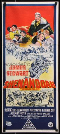 5k869 SHENANDOAH Aust daybill 1965 great hand litho of James Stewart in the Civil War!