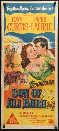5k888 SON OF ALI BABA Aust daybill 1952 hand litho art of Tony Curtis & sexy Piper Laurie!