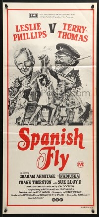 5k889 SPANISH FLY Aust daybill 1976 comedy aphrodisiac, put a little sting in your fling, really great art!