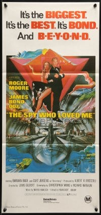 5k892 SPY WHO LOVED ME Aust daybill R1980s great art of Roger Moore as James Bond 007 by Bob Peak!