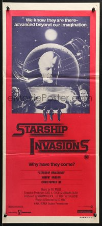 5k895 STARSHIP INVASIONS Aust daybill 1977 wacky aliens who are advanced beyond our imagination!