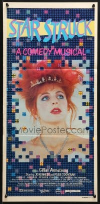5k896 STARSTRUCK Aust daybill 1982 directed by Gilliam Armstrong, super close up of Jo Kennedy!