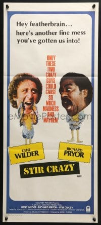5k897 STIR CRAZY Aust daybill 1980 Wilder & Pryor in chicken suits, directed by Sidney Poitier!