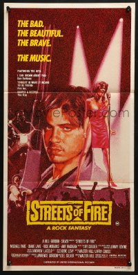 5k901 STREETS OF FIRE Aust daybill 1984 Walter Hill, Michael Pare Diane Lane, cool different art!