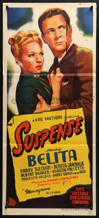 5k909 SUSPENSE Aust daybill 1946 Belita, Barry Sullivan, cool film noir artwork!