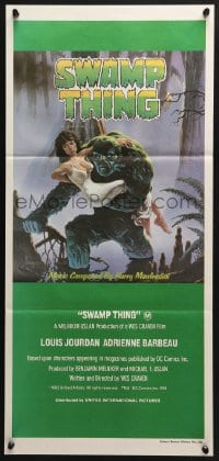 5k910 SWAMP THING Aust daybill 1982 Wes Craven, Richard Hescox art of him holding Adrienne Barbeau!