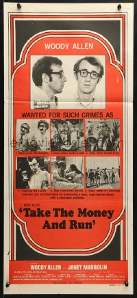 5k916 TAKE THE MONEY & RUN Aust daybill 1969 wacky Woody Allen mugshot in classic mockumentary!