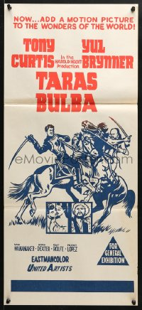 5k917 TARAS BULBA 2nd printing Aust daybill 1963 Tony Curtis & Yul Brynner, wonders of the world!