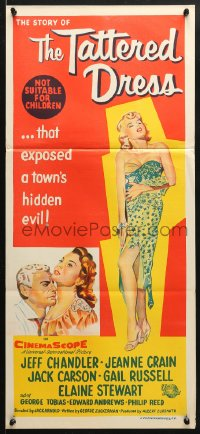 5k918 TATTERED DRESS Aust daybill 1957 Jeff Chandler, sexy Jeanne Crain & half-dressed Elaine Stewart!