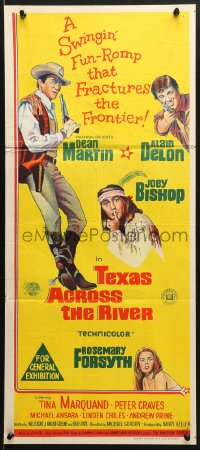 5k923 TEXAS ACROSS THE RIVER Aust daybill 1966 cowboy Dean Martin, Alain Delon & Indian Joey Bishop!