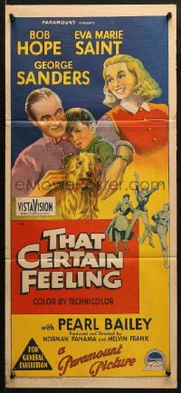 5k924 THAT CERTAIN FEELING Aust daybill 1956 Richardson Studio art of Bob Hope, Eva Marie Saint!