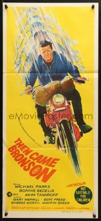 5k927 THEN CAME BRONSON Aust daybill 1970 Michael Parks & Bonnie Bedelia on and off a motorcycle!