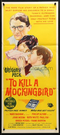 5k939 TO KILL A MOCKINGBIRD Aust daybill 1964 Gregory Peck, from Harper Lee's classic novel!
