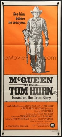 5k942 TOM HORN Aust daybill 1980 see cowboy Steve McQueen in the title role before he sees you!