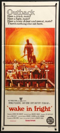 5k971 WAKE IN FRIGHT Aust daybill 1971 Ted Kotcheff Australian Outback creepy cult classic!